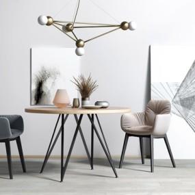 现代北欧餐桌椅3D模型【ID:327926639】