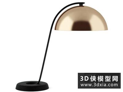 现代金属台灯国外3D模型【ID:829433965】