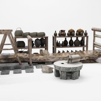 新中式石磨农具摆件组合3D模型【ID:927834143】