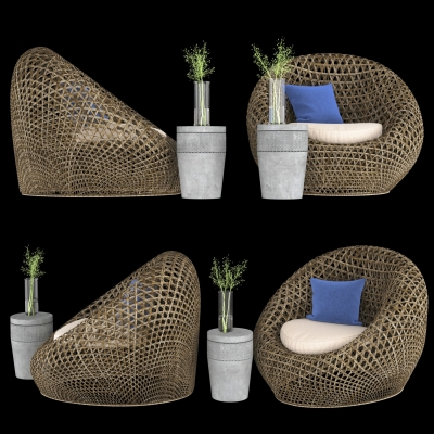 现代户外编藤椅边几花瓶组合3D模型【ID:327790318】