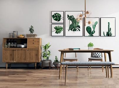 北歐實木餐桌椅餐邊柜3D模型【ID:331400453】
