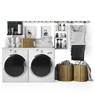 现代洗衣机毛巾藤编篮组合3D模型【ID:127762512】