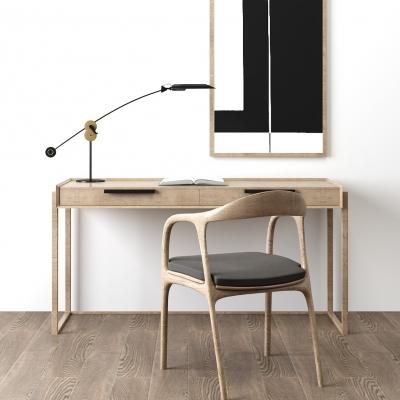 北歐實木書桌椅3D模型【ID:128409994】