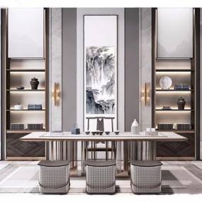 新中式书房书桌椅组合3D模型【ID:328243708】
