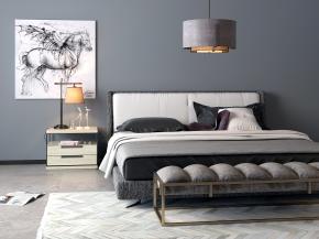 北歐雙人床床頭柜裝飾畫組合3D模型【ID:727808013】