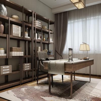 新中式书房3D模型【ID:128408719】