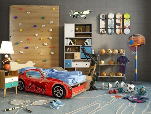 男孩房床具體育器材組合3D模型【ID:727951116】