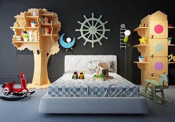 北歐兒童床書架組合3D模型【ID:728070195】
