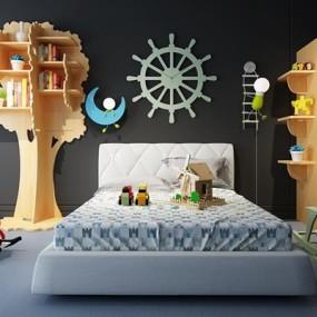 北欧儿童床书架组合3D模型【ID:728070195】
