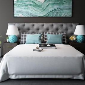 北欧卧室床具床头柜台灯组合3D模型【ID:327905562】