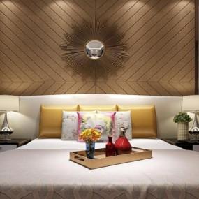 现代简约床具组合3D模型【ID:327905565】
