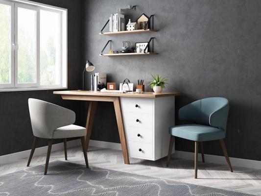 北欧书桌椅3D模型【ID:327907784】