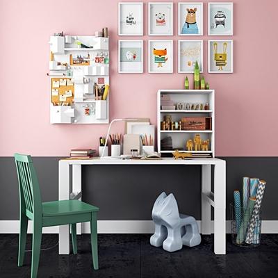 兒童書桌椅掛畫飾品玩具組合3D模型【ID:327905791】