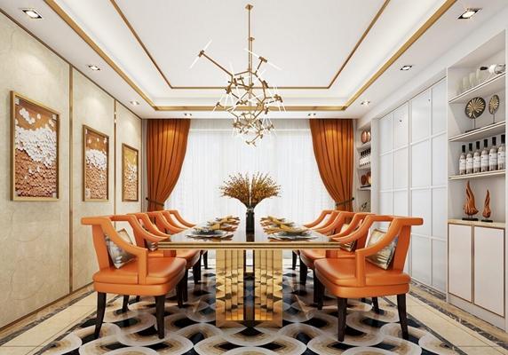 后现代豪华餐桌组合 后现代餐桌椅 沙发椅 酒柜 吊灯 挂画 窗帘