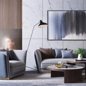 后现代奢华组合沙发3D模型【ID:128221013】