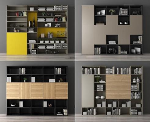 现代书柜组合3D模型【ID:928168538】