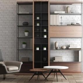 现代书架沙发椅组合3D模型【ID:427951006】
