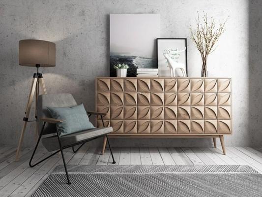 北欧边柜休闲椅组合3D模型【ID:928163571】
