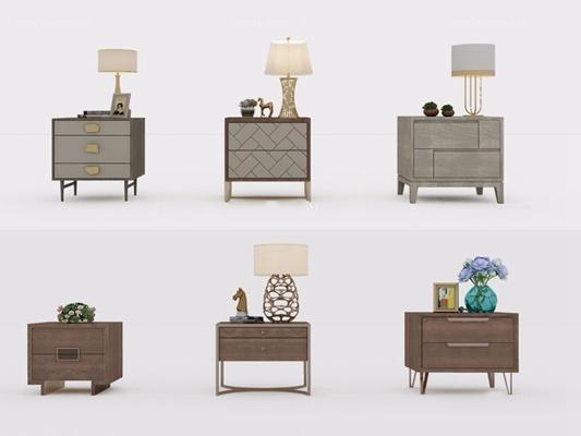 现代床头柜组合3D模型【ID:928163697】