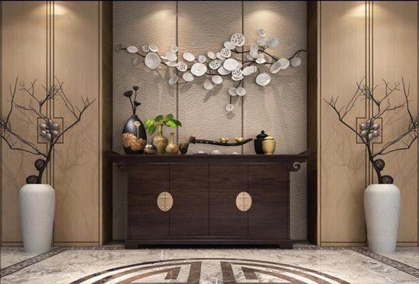 新中式装饰柜3D模型【ID:928164238】