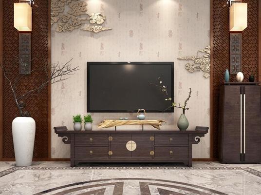 新中式电视柜组合3D模型【ID:928164047】