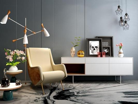 北欧简约电视柜沙发灯具组合3D模型【ID:928164582】