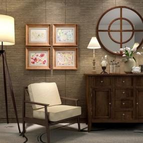 美式乡村柜子椅子灯具组合3D模型【ID:928164593】