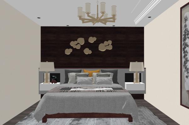 新中式臥室SU模型【ID:247621361】