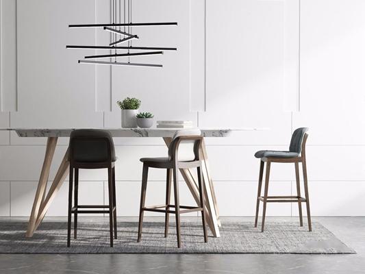 現代吧臺吧椅吊燈組合3D模型【ID:327926180】