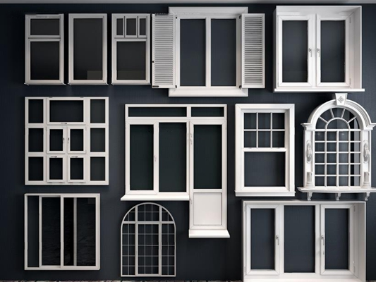 现代欧式窗户组合3D模型【ID:528000040】
