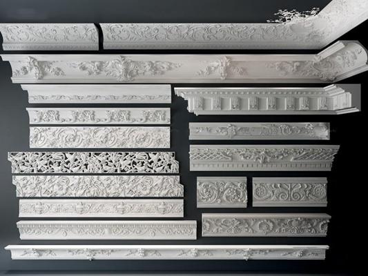欧式雕花石膏线组合3D模型【ID:828128465】