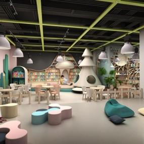 现代时尚幼儿园消费区娱乐场3D模型【ID:528215892】