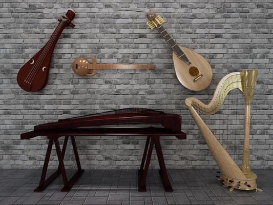 中式古典樂器3D模型【ID:127847456】
