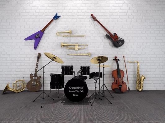 現代樂器組合3D模型【ID:127847016】