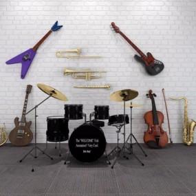 现代乐器组合3D模型【ID:127847016】