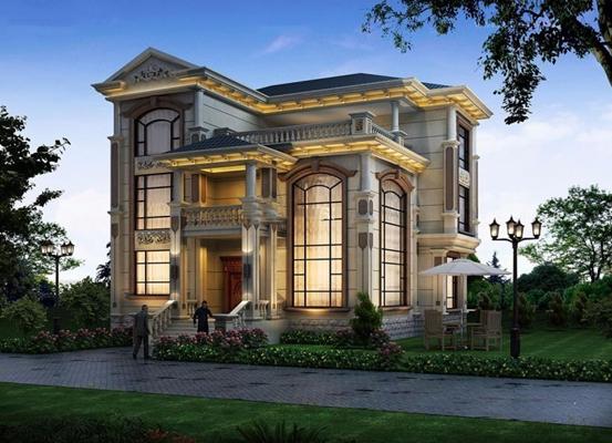 歐式別墅建筑景觀3D模型【ID:327904513】