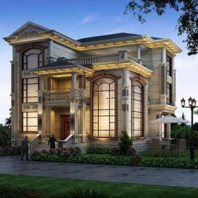 欧式别墅建筑景观3D模型【ID:327904513】