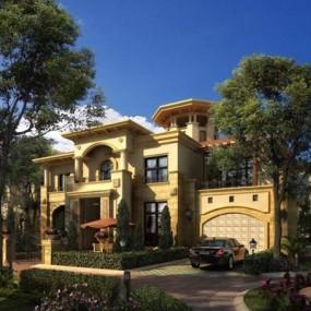 欧式别墅建筑景观庭院3D模型【ID:327904515】