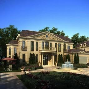 欧式风格别墅建筑庭院3D模型【ID:327906511】