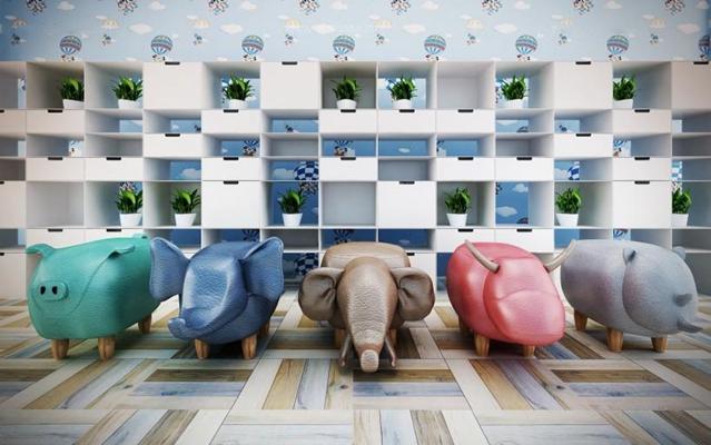 儿童动物矮凳3D模型【ID:628045483】