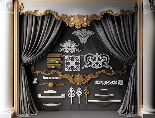 歐式雕花把手窗簾組合3D模型【ID:928169235】