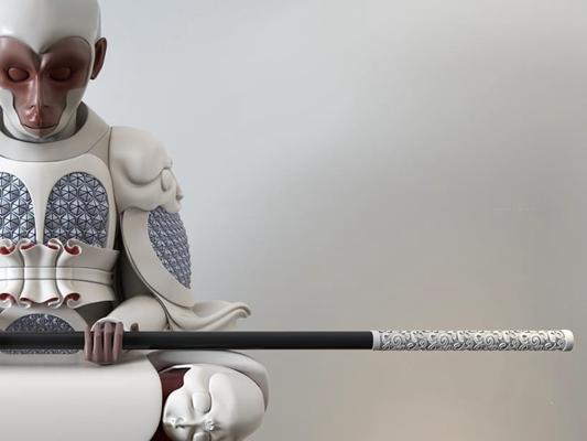 孫悟空雕塑擺件3D模型【ID:327906806】