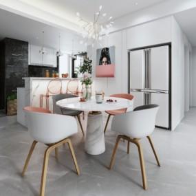 现代餐厅敞开式厨房吧台3D模型【ID:127776868】