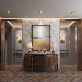 现代美式门厅3D模型【ID:227880779】