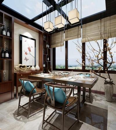 新中式餐厅3D模型【ID:828132570】