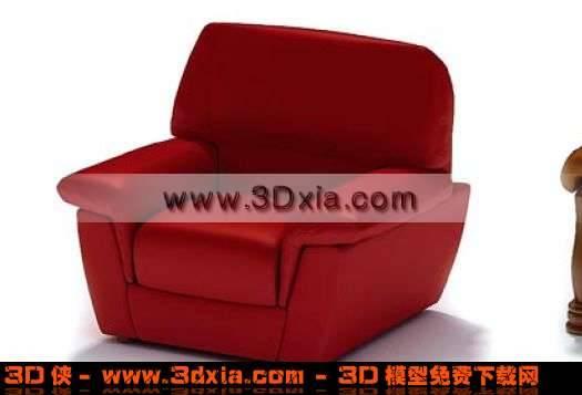 紅色優雅的3D標準單人沙發模型3D模型【ID:2076】