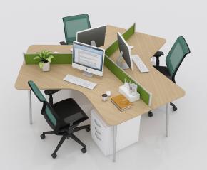 现代办公桌椅卡座摆件组合3D模型【ID:627805632】
