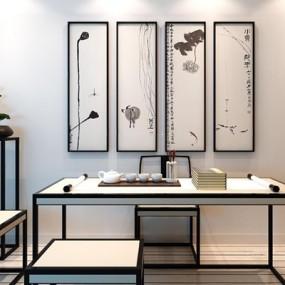 新中式书桌椅挂画组合3D模型【ID:127848996】