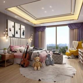 现代儿童房卧室3D模型【ID:427951618】
