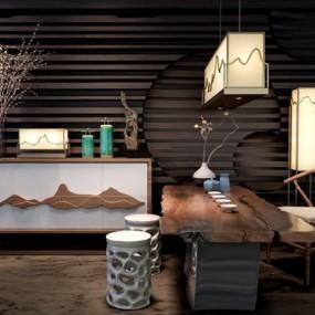 新中式茶室3D模型【ID:127848908】